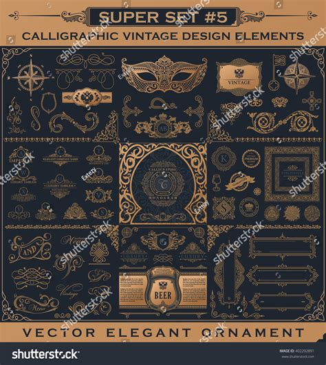 vintage menu design elements vector set calligraphic vintage emblem design gold elements vector