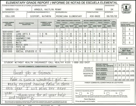 Report Card Template by Elementary School Report Card Template Homeschooling