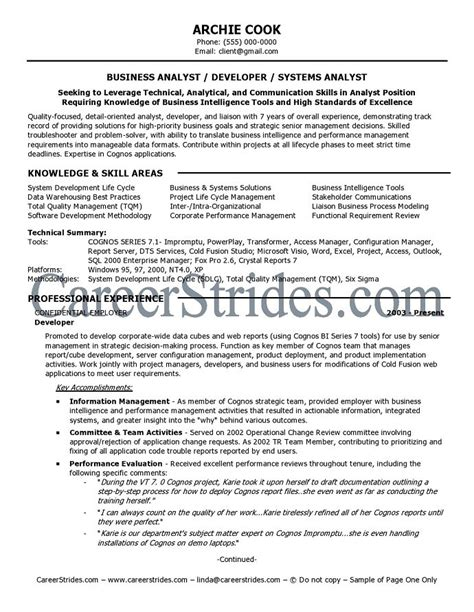 business analyst resume sle exle
