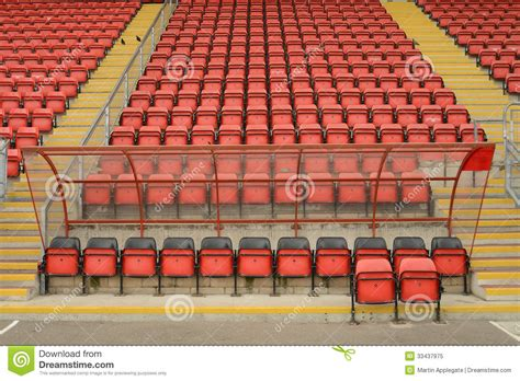 what are seats at a football soccer dugout and seats stock image image of side empty