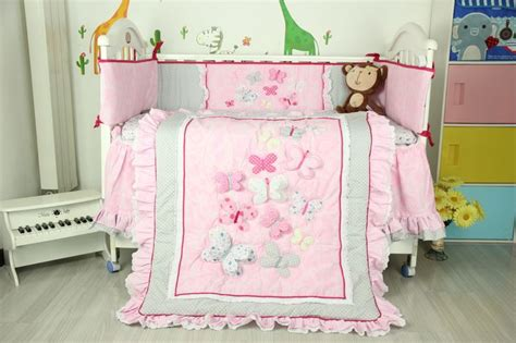 Embroidered Crib Bedding by Pink Embroidered 3d Butterflys Lace Crib Bedding For