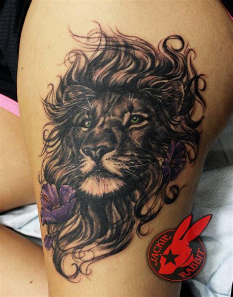 tattoo lion flower lion flower portrait tattoo by jackie rabbit by