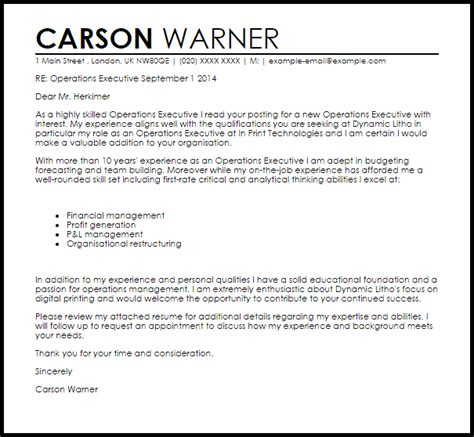 executive cover letter exles ceo operations executive cover letter sle cover letter