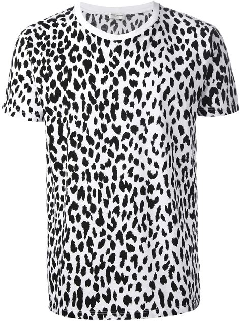 lyst laurent leopard print tshirt in white for