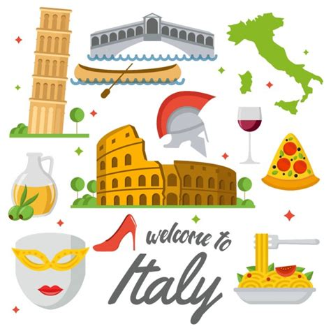 italia clipart coloured italy elements vector free