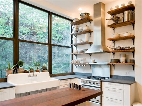 10 sparkling kitchens with open shelving tips for open shelving in the kitchen hgtv