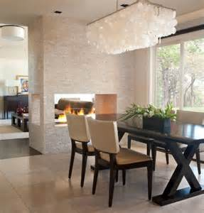 Contemporary Dining Room Chandelier by 20 Gorgeous Two Sided Fireplaces For Your Spacious Homes