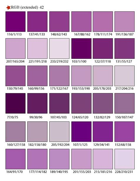 types of purple printable rgb color palette swatches my practical skills