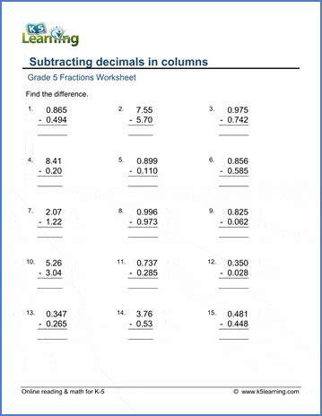 grade  math worksheets subtracting decimals  columns