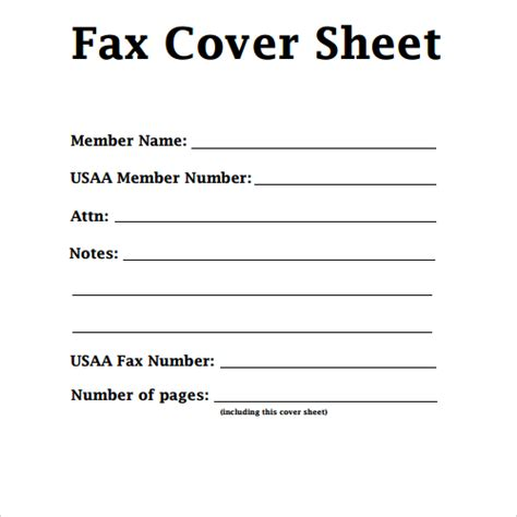 fax cover sheet template for pages usaa resume member services