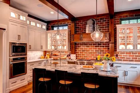 brick backsplash in kitchen timeless design showcased by five bedroom home in