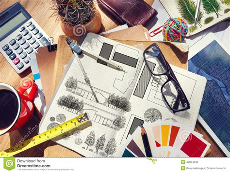 online decorating tools messy designer s table with project plan and tools stock