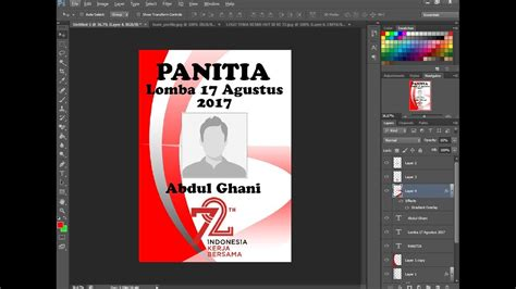 cara membuat id card edit cara membuat id card panitia lomba 17 agustus 2017 youtube