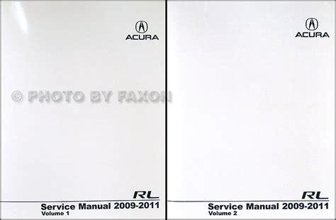 free online auto service manuals 2011 acura rl security system 2009 2011 acura rl repair shop manual original 2 volume set