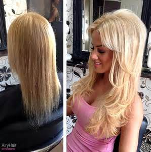before and after to hair hair extensions before after images medium and short hair