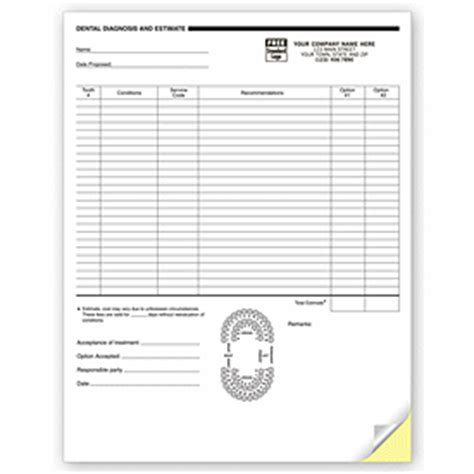 Medical Forms 2 Part Dental Diagnosis And Estimate Forms 4053 By Deluxe Dental Treatment Estimate Template