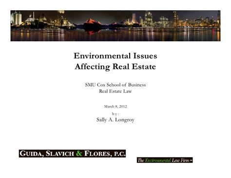 Smu Real Estate Mba by Environmental Issues Affecting Real Estate Smu Cox Real