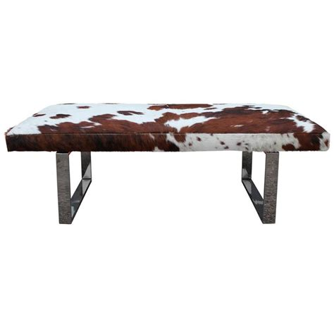 Cowhide Benches - striking cowhide and chrome bench of ottoman at 1stdibs