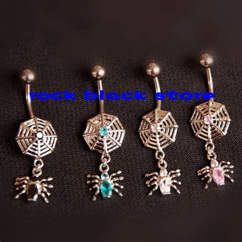 Mixer Lifier Black Spider mixing 4 color black widow zircon spider dangle belly ring