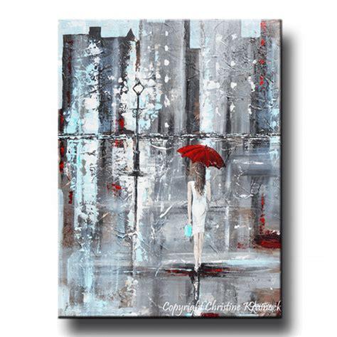Abstrak Printing Top giclee print abstract painting umbrella city