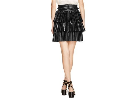 maje juppon faux leather tiered skirt in black lyst