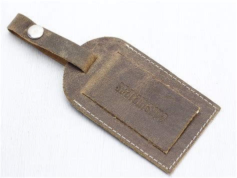 Leather Tag vintage leather luggage tag travel accessory