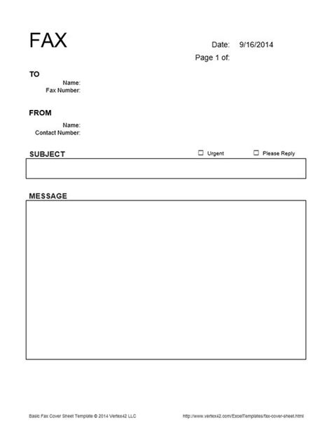 Memo Template Page On Vertex42 The Basic Fax Cover Sheet From Vertex42 Places To Visit The O Jays