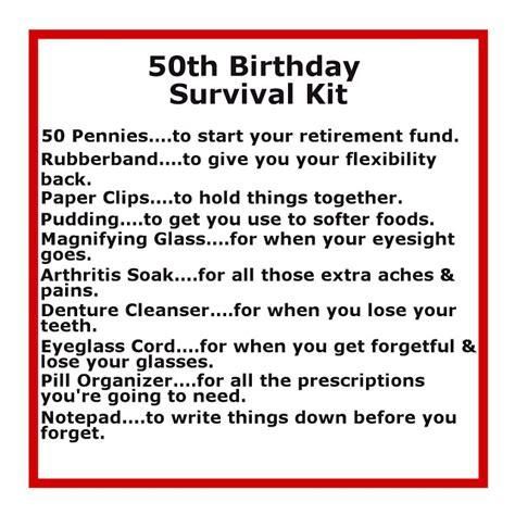 50th birthday survival kit delightfully noted