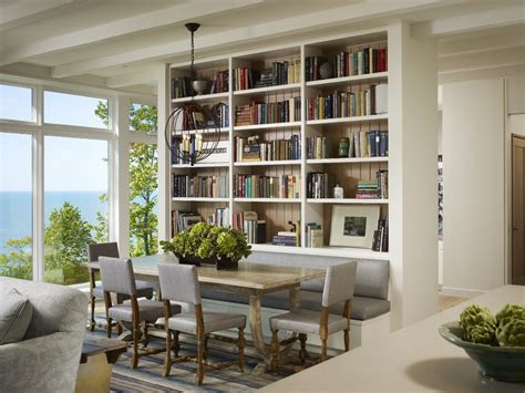 bookcase in dining room bookshelf room divider dining room transitional with area