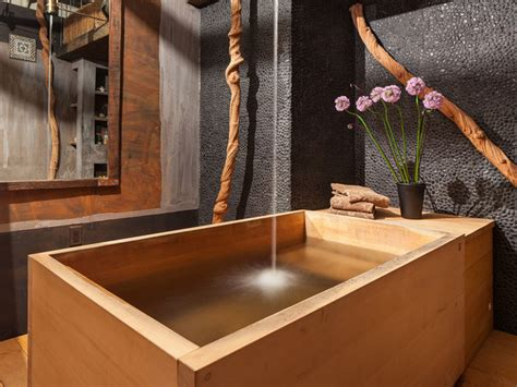 asian bathtub bathroom with japanese wooden soaking tub