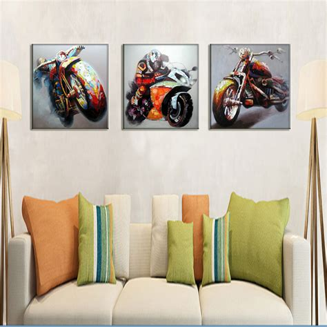 Handmade Paintings On Canvas - race car driver wall motorcycle pictures handmade
