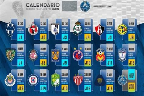 Calendario Xolos 2017 Local Club Puebla Conoce El Calendario Para El Torneo Clausura 2017