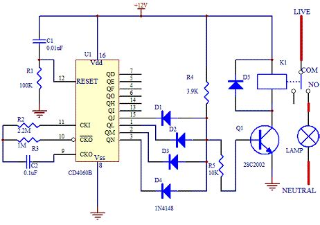 electric circuit with switch electronic timer switch