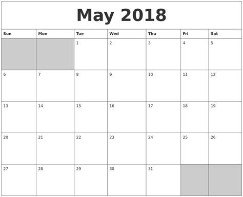 printable calendar 2018 blank blank may 2018 calendar free download printables