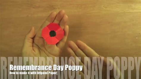 Origami Poppy Flower - how to make remembrance day poppy with origami paper