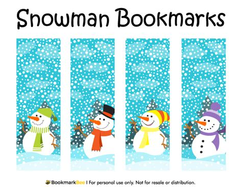 printable snowman bookmarks to color free printable snowman bookmarks featuring cute snowmen