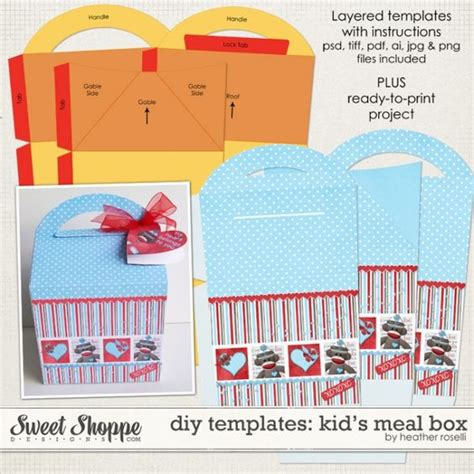 templates for sweet boxes diy printable templates kid s meal box by heather roselli
