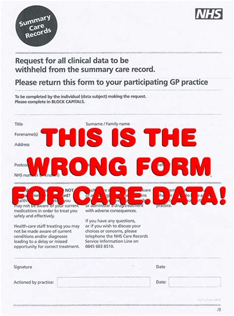 Records Opt Out Summary Care Record Opt Out Form Medconfidential