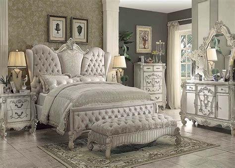 traditional antique ivory velvet queen king bed  luxury  piece bedroom set ebay