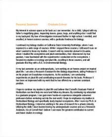 Exles Of Personal Essays For Graduate School by 9 Graduate School Personal Statement Exles Free Premium Templates