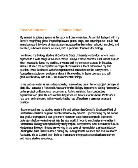 personal statement for graduate school template 10 graduate school personal statement exles free