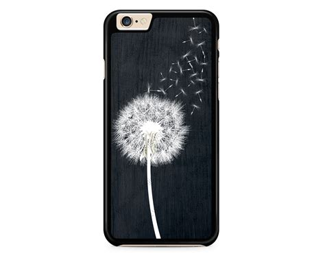 Leather Iphone 4 4s 5 5s 6 6s dandelion on black wood design for iphone 4 4s 5 5s