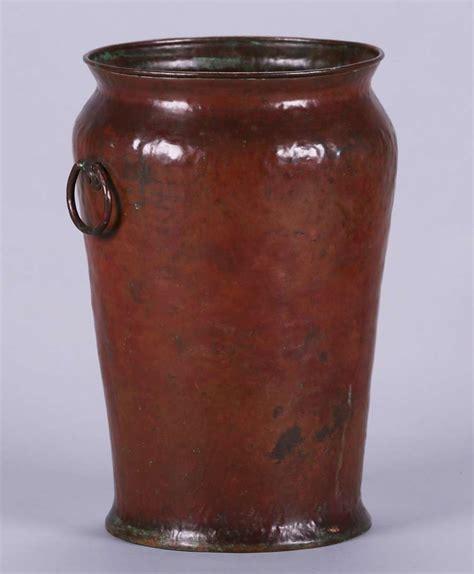Copper Floor Vase by Dirk Erp Hammered Copper Warty Floor Vase