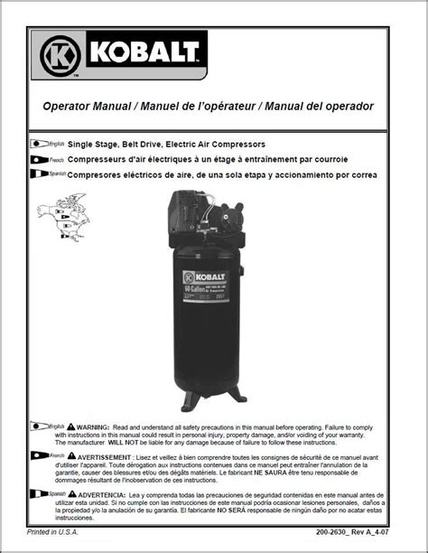 kobalt 60 gallon air compressor owners parts manual pdf lla3706056 kla3706056 ebay
