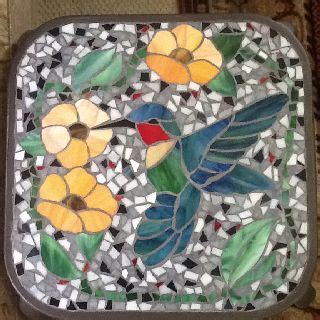 mosaic hummingbird pattern stained glass mosaic table may have to make some stepping