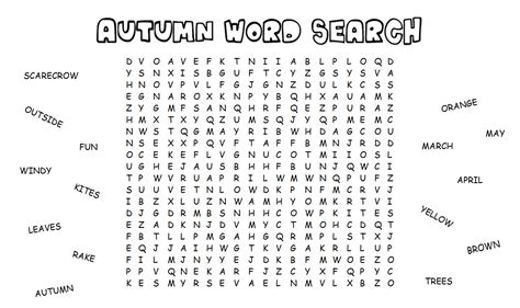 Search Name 18 Fall Word Search Puzzles Baby