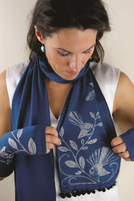 Wellington Pashmina Scarf Merino Wool Scarf With Fantail Print By Nz