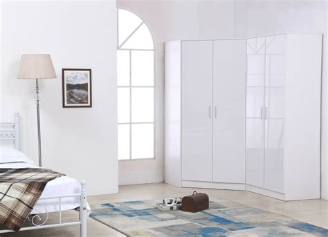 reflect plain  door corner wardrobe gloss white white bedroom furniture set ebay