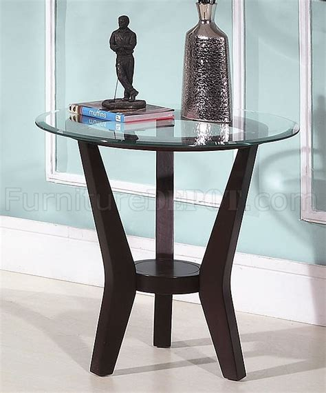 brown cherry coffee table end tables 3pc set w clear