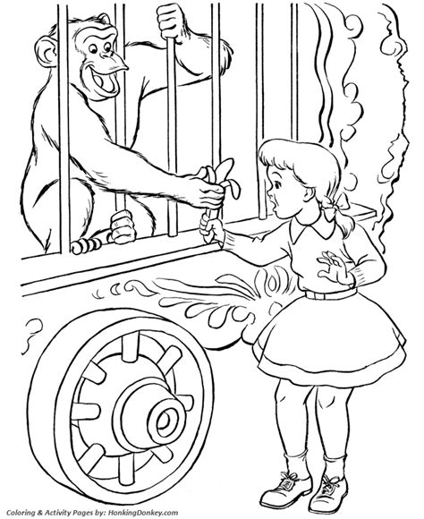circus monkey coloring page circus monkey coloring page circus monkey in a cage